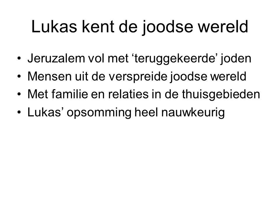 Lukas kent de joodse wereld Jeruzalem vol met 'teruggekeerde' joden Mensen uit de verspreide joodse wereld Met familie en relaties in de thuisgebieden Lukas' opsomming heel nauwkeurig