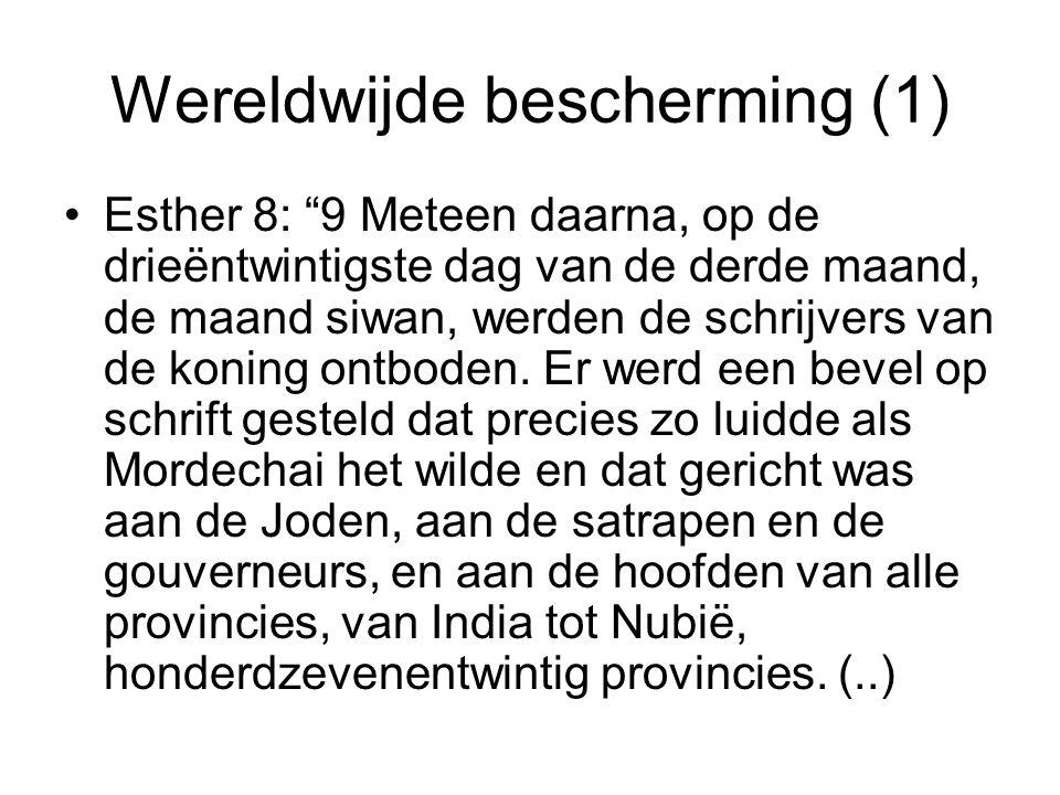 Wereldwijde bescherming (1) Esther 8: 9 Meteen daarna, op de drieëntwintigste dag van de derde maand, de maand siwan, werden de schrijvers van de koning ontboden.