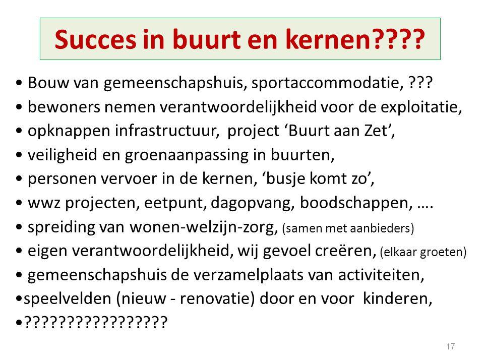 Succes in buurt en kernen???? Bouw van gemeenschapshuis, sportaccommodatie, ??? bewoners nemen verantwoordelijkheid voor de exploitatie, opknappen inf