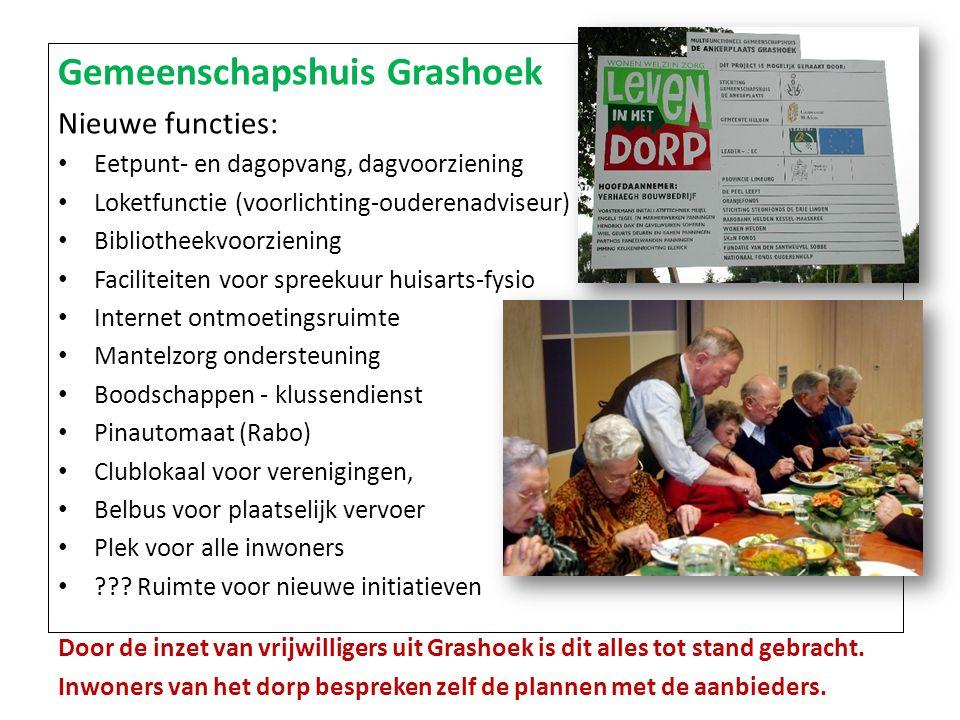 Gemeenschapshuis Grashoek Nieuwe functies: Eetpunt- en dagopvang, dagvoorziening Loketfunctie (voorlichting-ouderenadviseur) Bibliotheekvoorziening Fa