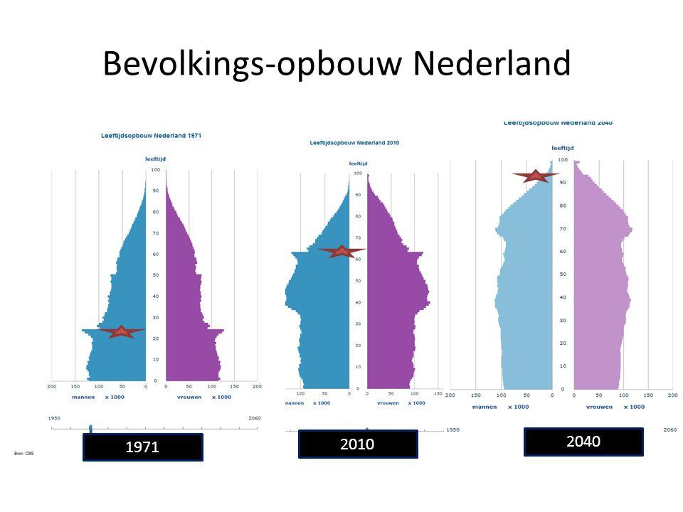 Bevolkings-opbouw Nederland 1971 2010 2040