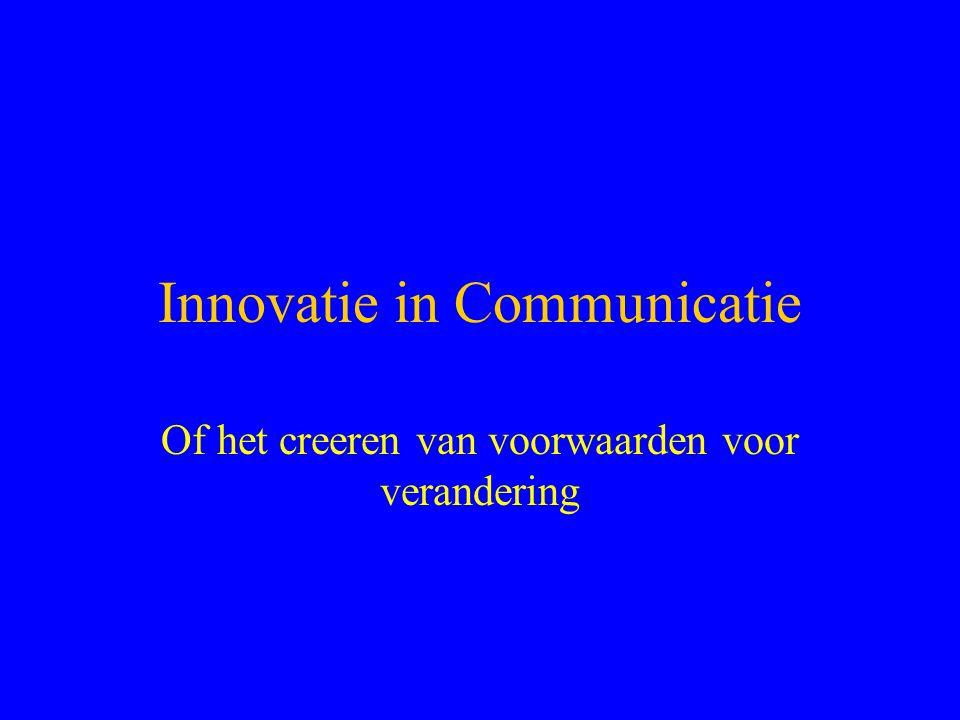 Innovatie in Communicatie Of het creeren van voorwaarden voor verandering