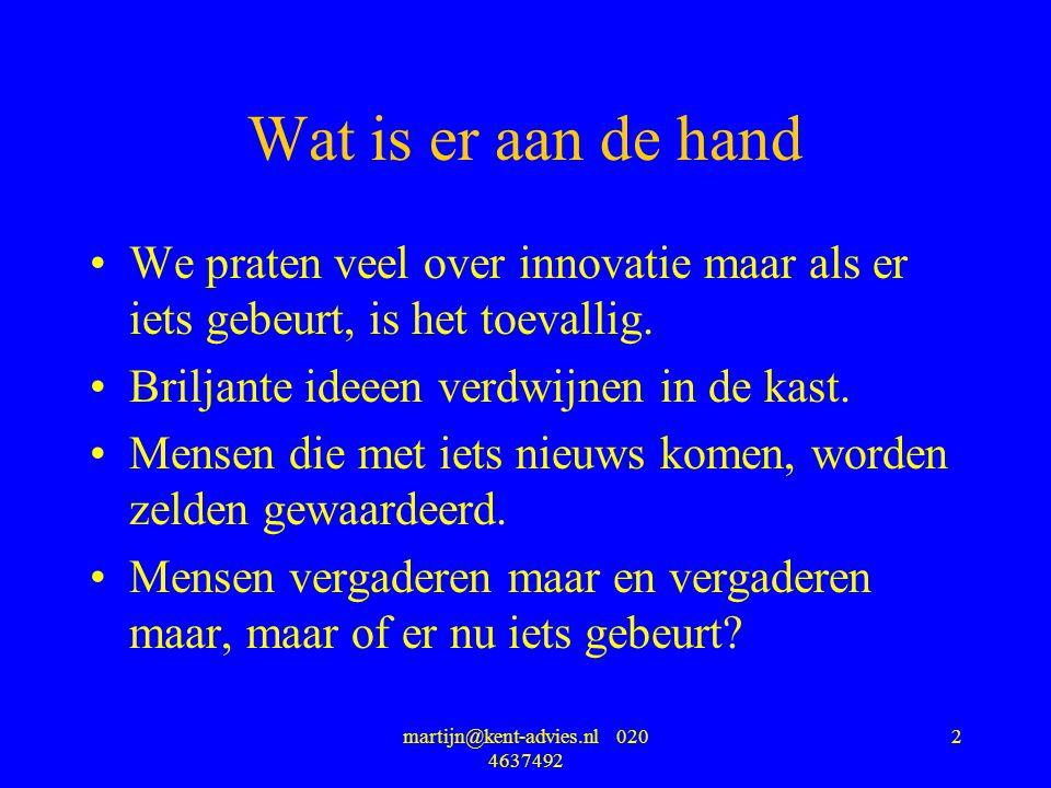 martijn@kent-advies.nl 020 4637492 2 Wat is er aan de hand We praten veel over innovatie maar als er iets gebeurt, is het toevallig. Briljante ideeen