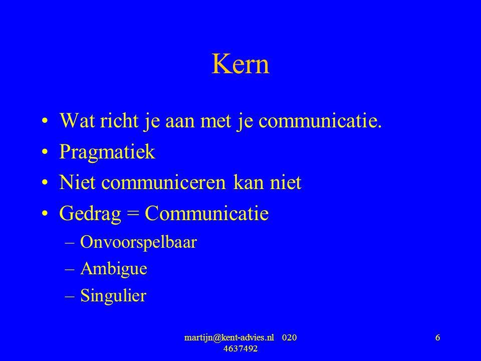 martijn@kent-advies.nl 020 4637492 6 Kern Wat richt je aan met je communicatie. Pragmatiek Niet communiceren kan niet Gedrag = Communicatie –Onvoorspe