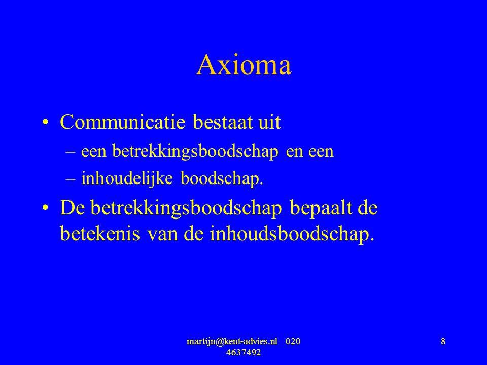 martijn@kent-advies.nl 020 4637492 8 Axioma Communicatie bestaat uit –een betrekkingsboodschap en een –inhoudelijke boodschap. De betrekkingsboodschap