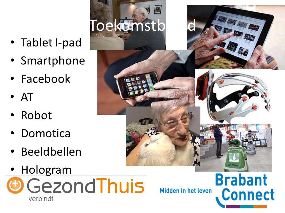 verbindt Tablet I-pad Smartphone Facebook AT Robot Domotica Beeldbellen Hologram Toekomstbeeld
