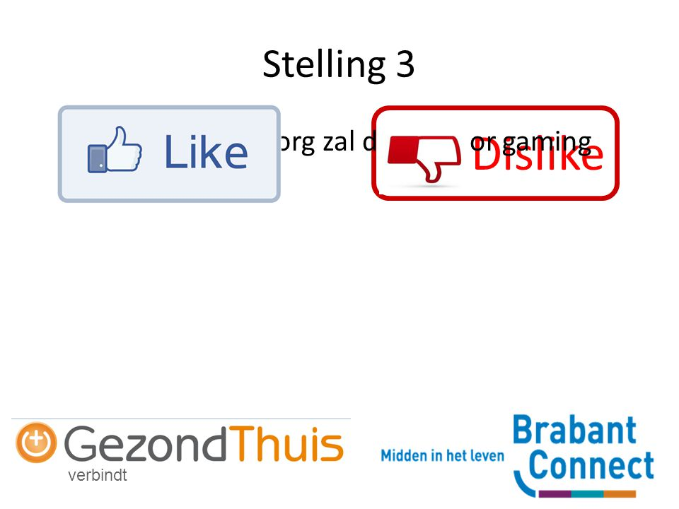 verbindt Dislike Stelling 3 De vraag naar zorg zal dalen door gaming