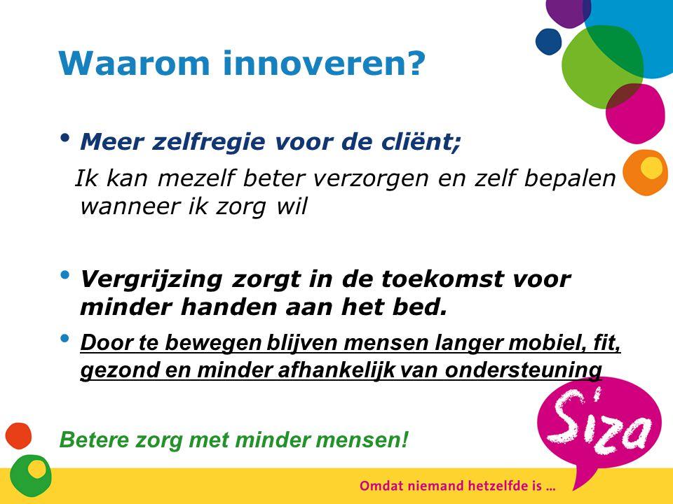 Waarom innoveren? Meer zelfregie voor de cliënt; Ik kan mezelf beter verzorgen en zelf bepalen wanneer ik zorg wil Vergrijzing zorgt in de toekomst vo