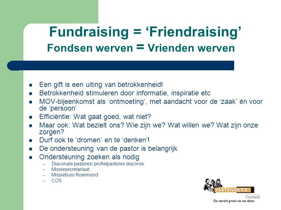 Fundraising = 'Friendraising' Fondsen werven = Vrienden werven Een gift is een uiting van betrokkenheid! Betrokkenheid stimuleren door informatie, ins