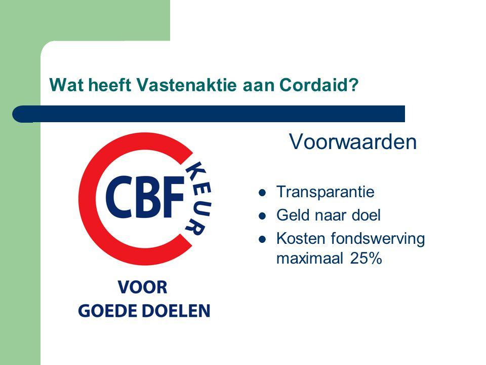 Wat heeft Vastenaktie aan Cordaid? Voorwaarden Transparantie Geld naar doel Kosten fondswerving maximaal 25%