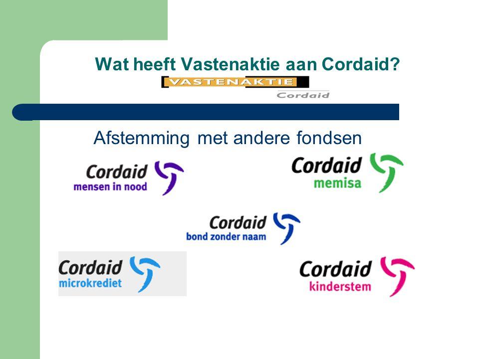 Wat heeft Vastenaktie aan Cordaid? Afstemming met andere fondsen