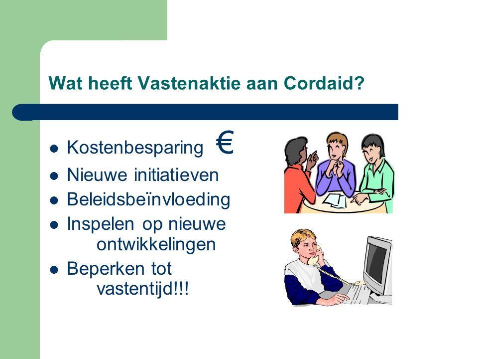 Wat heeft Vastenaktie aan Cordaid? Kostenbesparing € Nieuwe initiatieven Beleidsbeïnvloeding Inspelen op nieuwe ontwikkelingen Beperken tot vastentijd