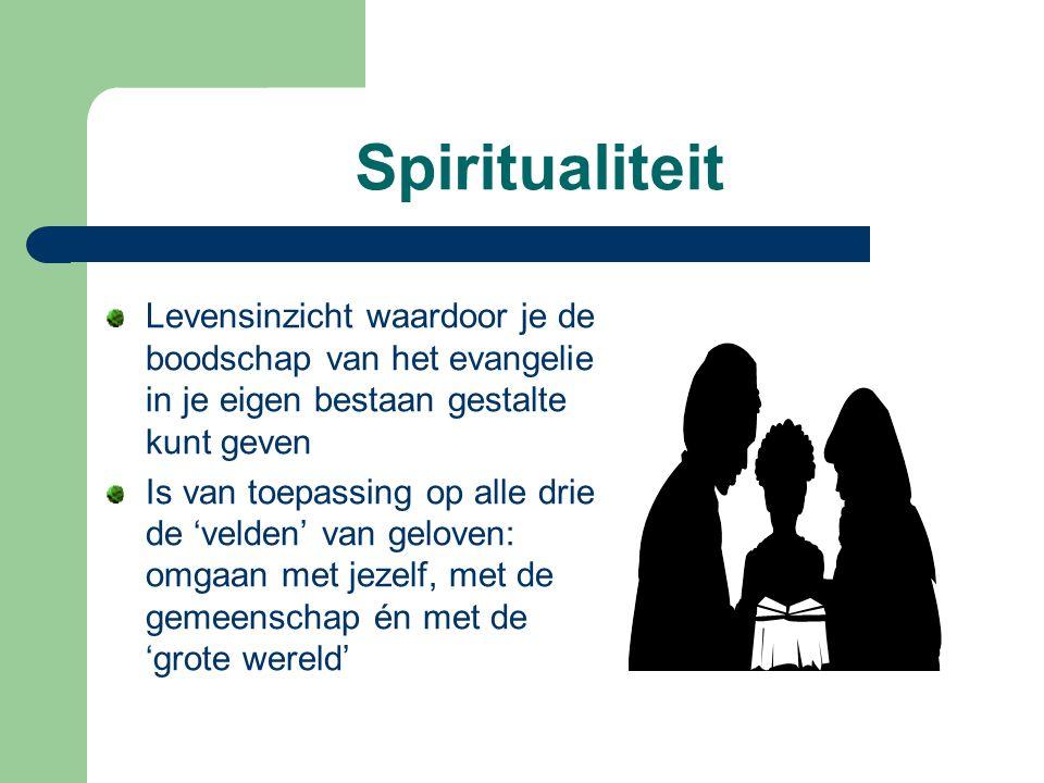 Spiritualiteit Levensinzicht waardoor je de boodschap van het evangelie in je eigen bestaan gestalte kunt geven Is van toepassing op alle drie de 'vel