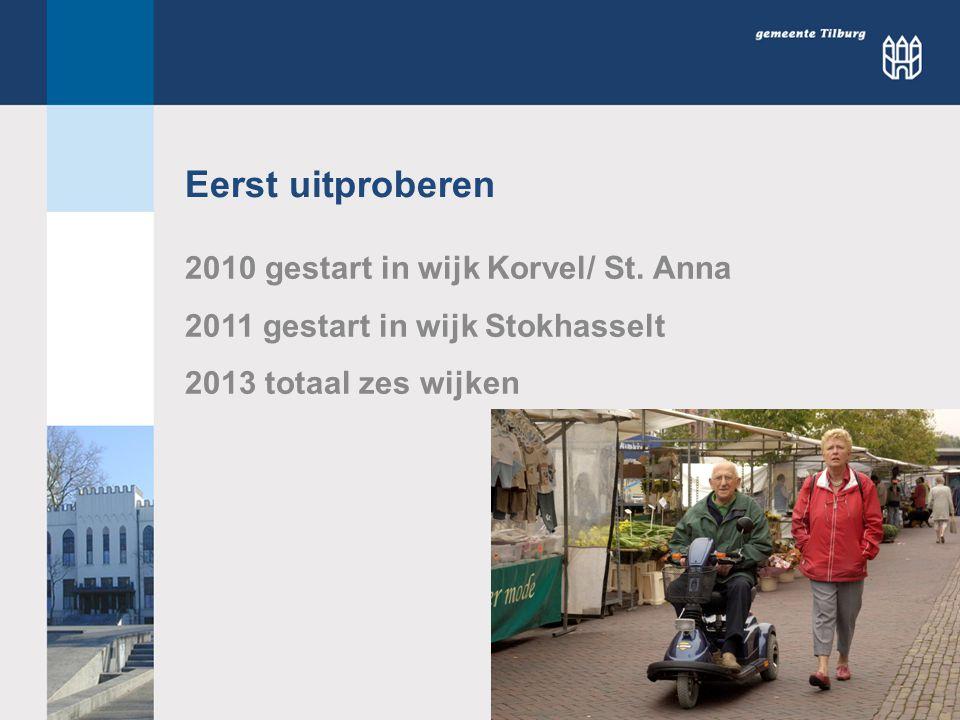 Eerst uitproberen 2010 gestart in wijk Korvel/ St.
