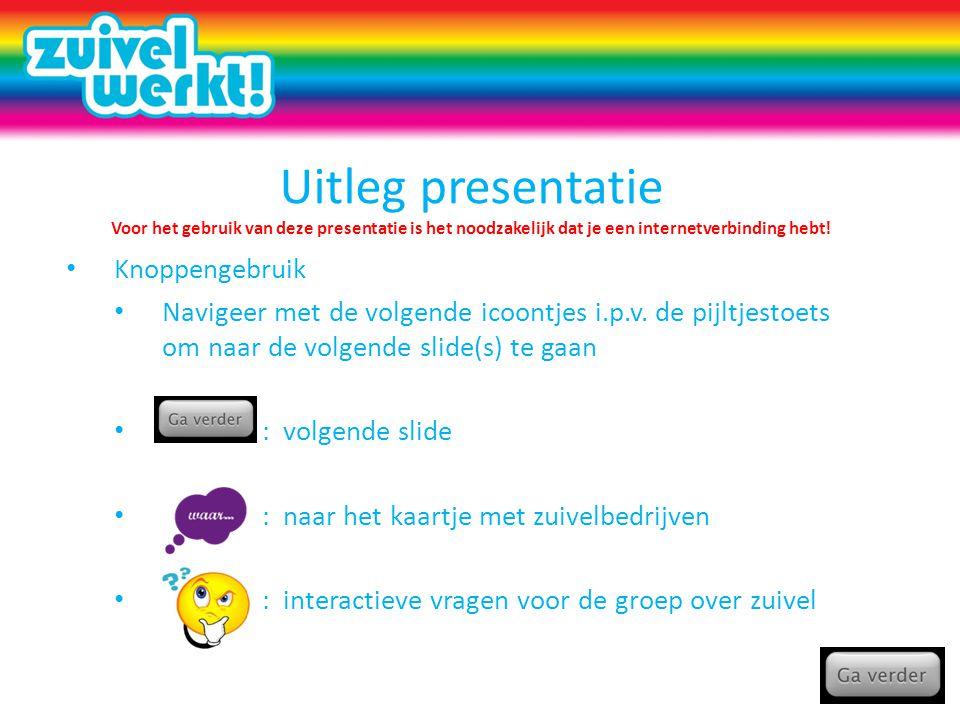 Uitleg presentatie Voor het gebruik van deze presentatie is het noodzakelijk dat je een internetverbinding hebt.