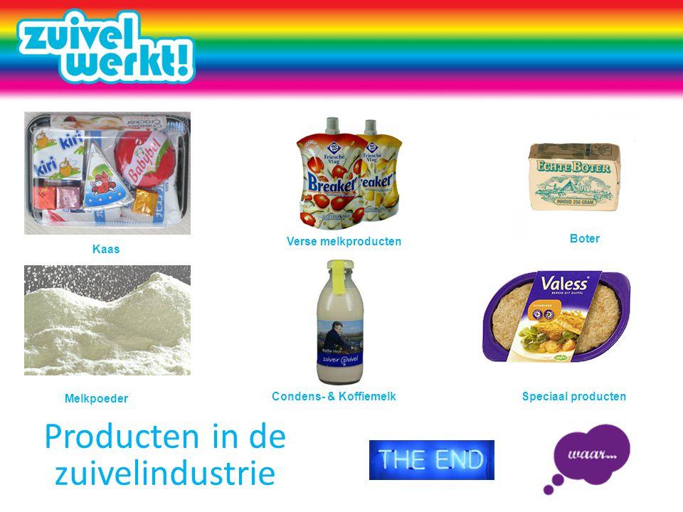 Producten in de zuivelindustrie Kaas Condens- & Koffiemelk Melkpoeder Verse melkproducten Boter Speciaal producten