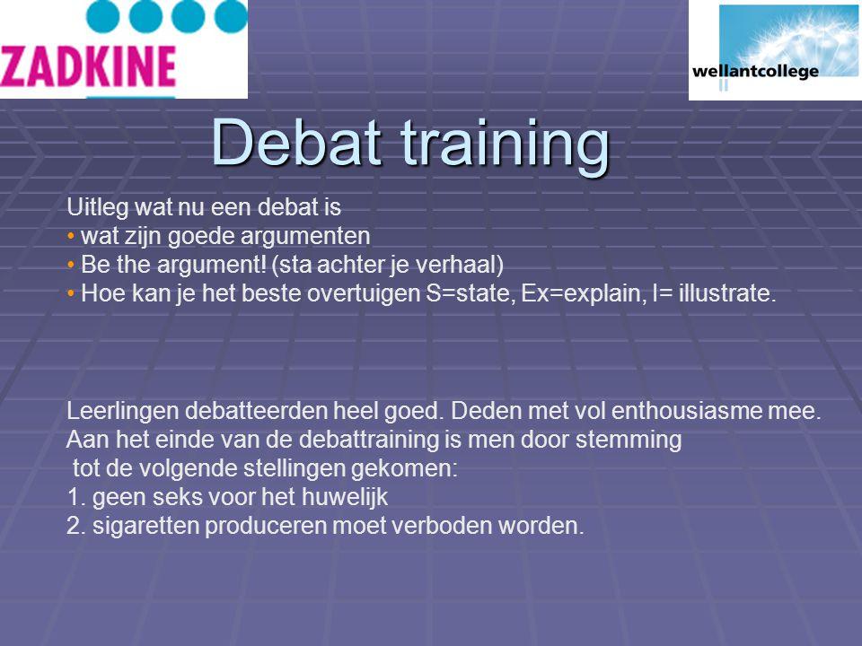 Debat training Uitleg wat nu een debat is wat zijn goede argumenten Be the argument.