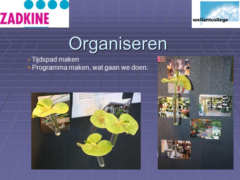 Organiseren Tijdspad maken Programma maken, wat gaan we doen: