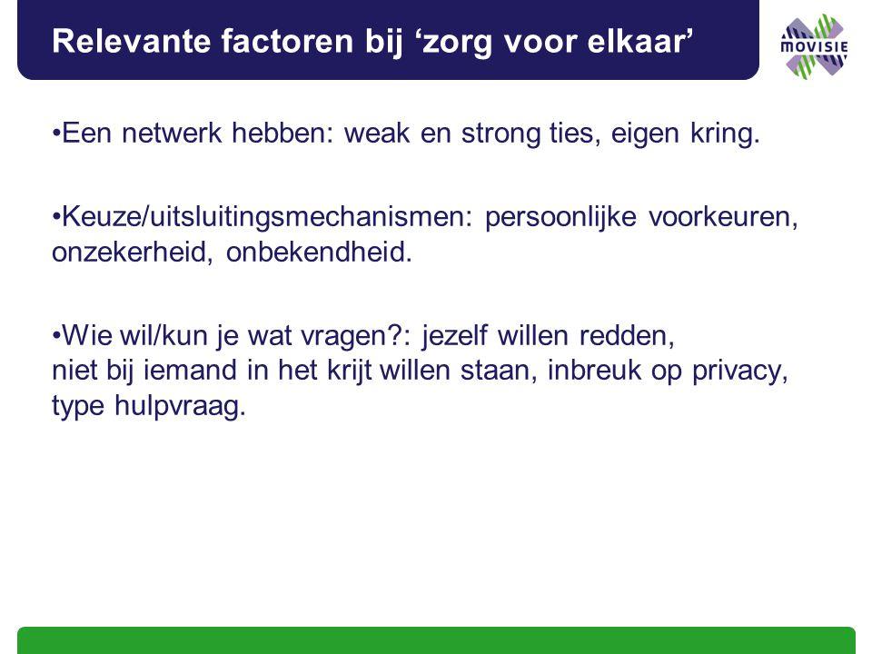 Relevante factoren bij 'zorg voor elkaar' Een netwerk hebben: weak en strong ties, eigen kring. Keuze/uitsluitingsmechanismen: persoonlijke voorkeuren