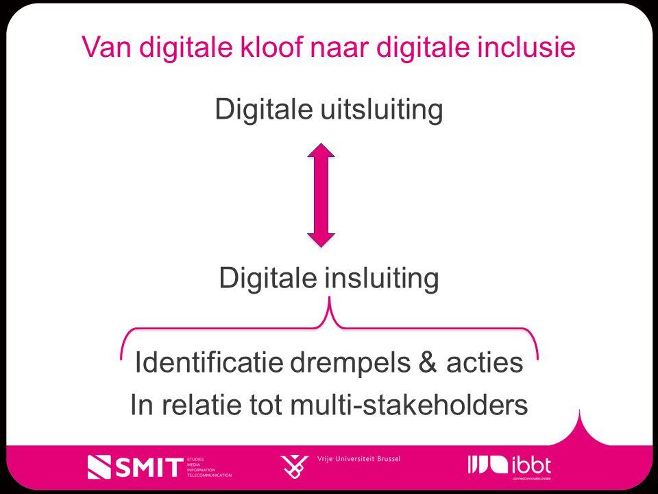 Van digitale kloof naar digitale inclusie Digitale uitsluiting Digitale insluiting Identificatie drempels & acties In relatie tot multi-stakeholders