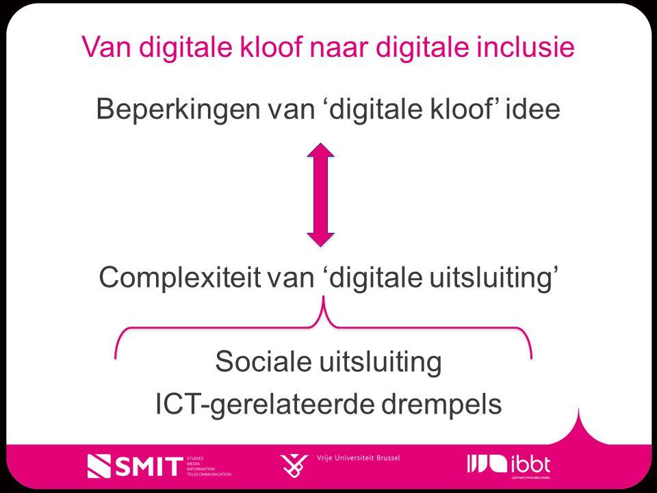Van digitale kloof naar digitale inclusie Beperkingen van 'digitale kloof' idee Complexiteit van 'digitale uitsluiting' Sociale uitsluiting ICT-gerelateerde drempels