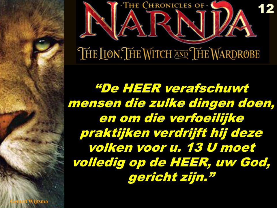 Gerard Wijtsma 13 v'jid'oni 3049 ynid yv geestenbezweerder De HEER verafschuwt mensen die zulke dingen doen, en om die verfoeilijke praktijken verdrijft hij deze volken voor u.