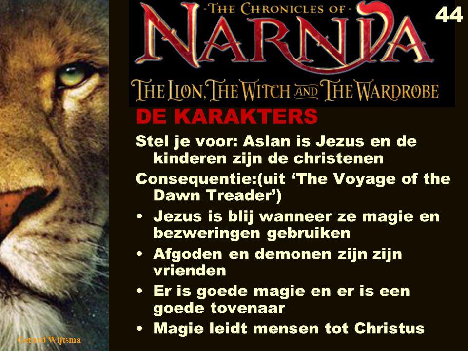 Gerard Wijtsma 45 Het rituele offer van Aslan heeft meer van de oude winter solsticerituelen en de bloedige offers aan de afgoden (Hindoes, Maja's, Inca's of Babyloniërs) dan met de kruisiging van Jezus.