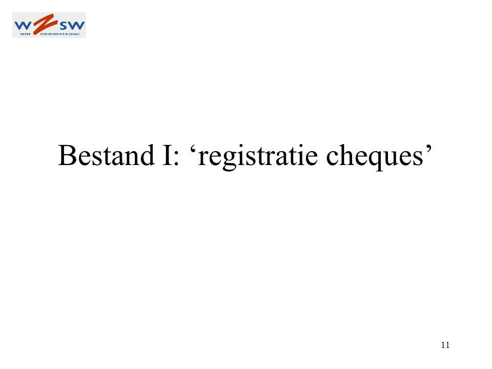 11 Bestand I: 'registratie cheques'