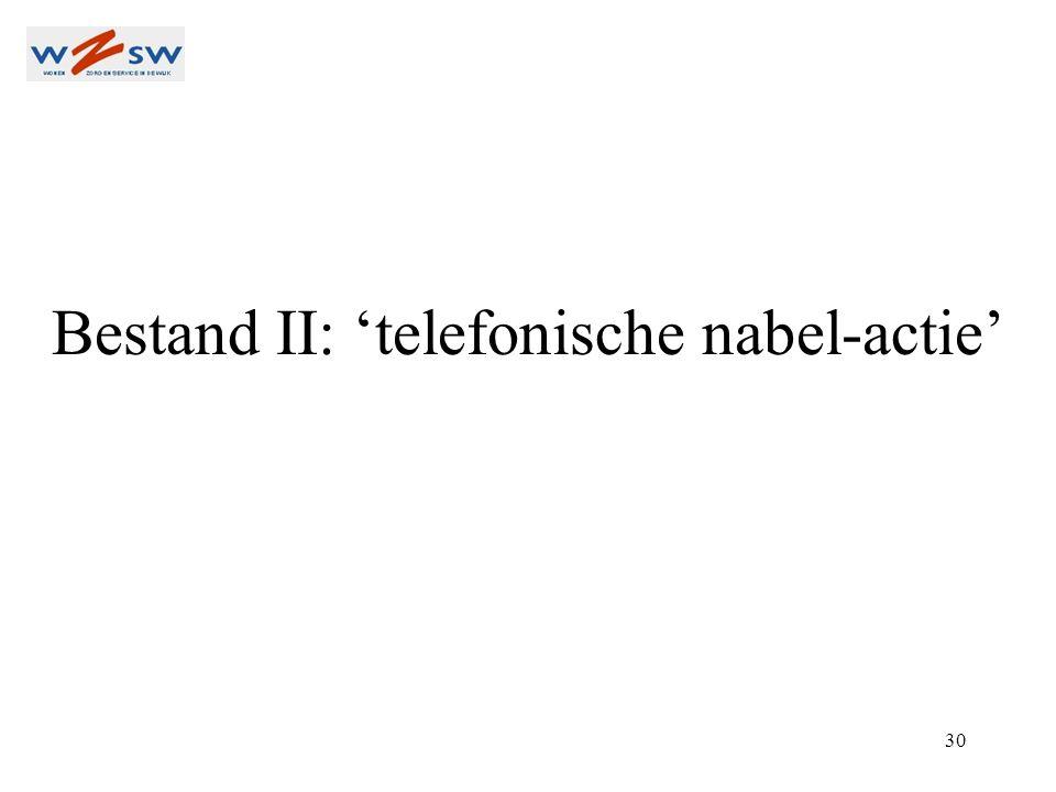 30 Bestand II: 'telefonische nabel-actie'