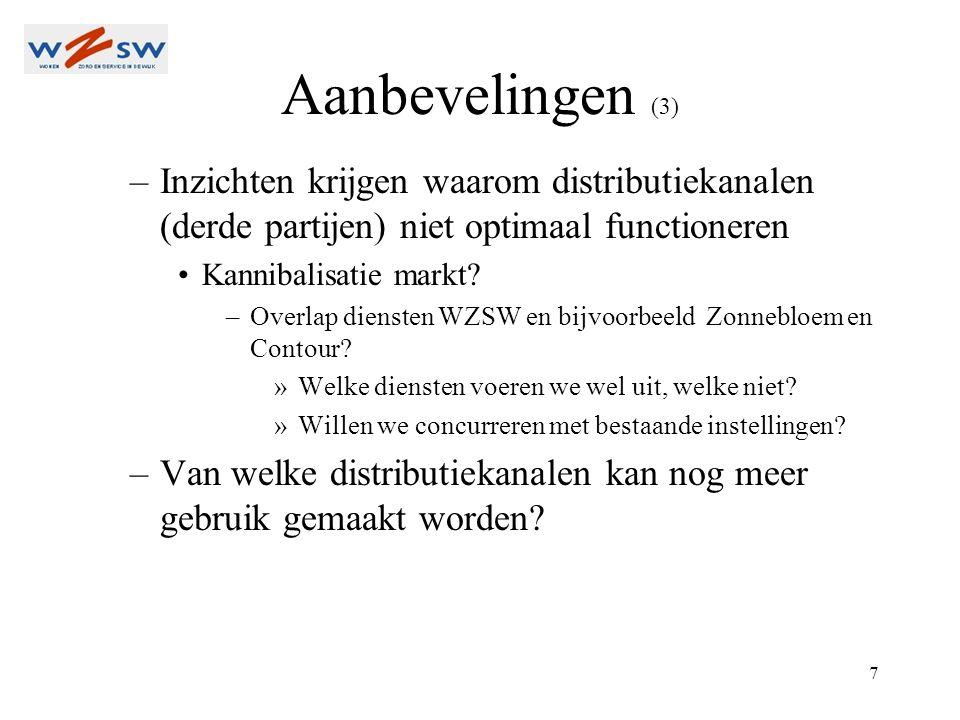 7 Aanbevelingen (3) –Inzichten krijgen waarom distributiekanalen (derde partijen) niet optimaal functioneren Kannibalisatie markt.