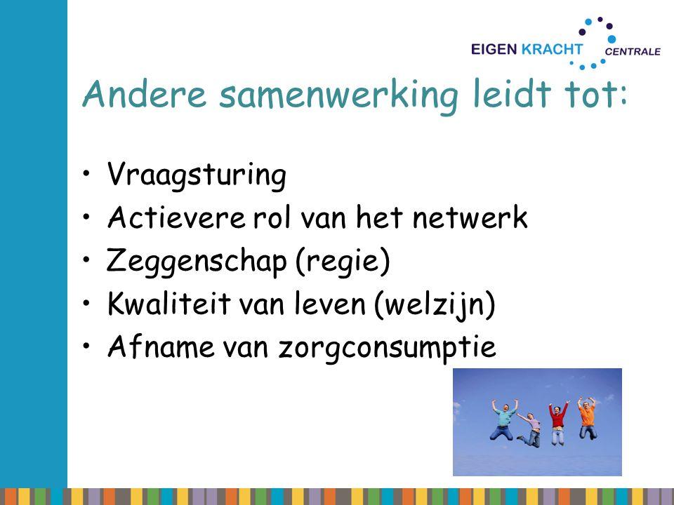 Andere samenwerking leidt tot: Vraagsturing Actievere rol van het netwerk Zeggenschap (regie) Kwaliteit van leven (welzijn) Afname van zorgconsumptie