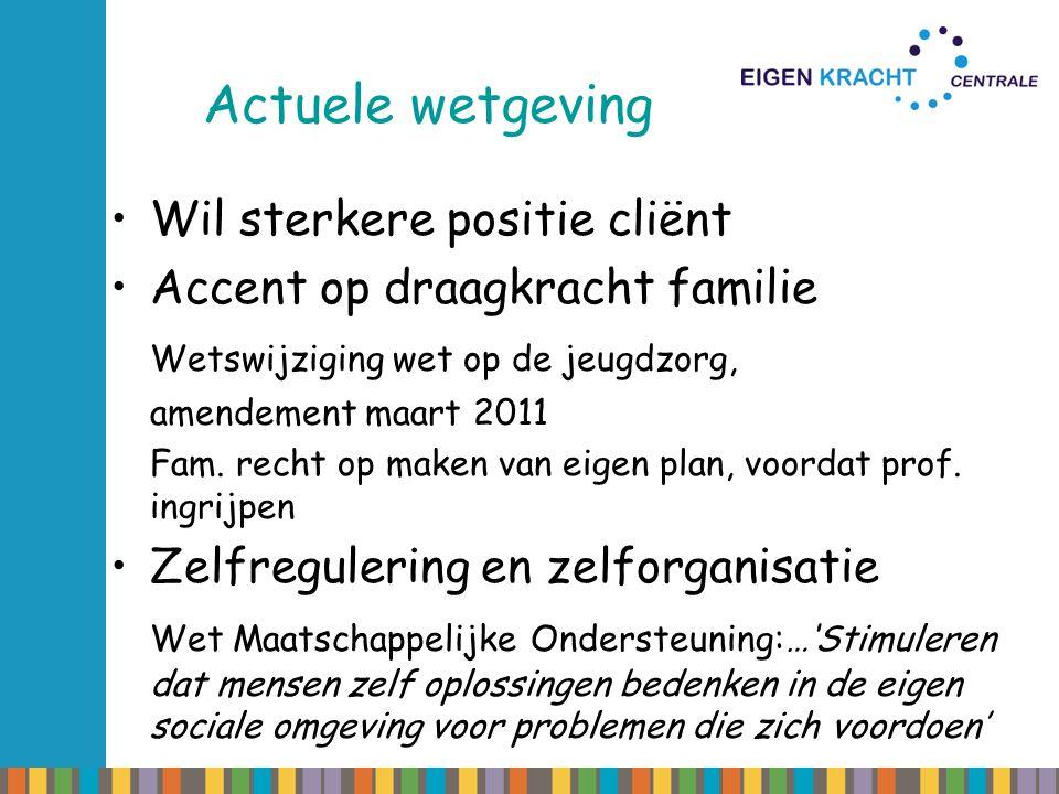 Actuele wetgeving Wil sterkere positie cliënt Accent op draagkracht familie Wetswijziging wet op de jeugdzorg, amendement maart 2011 Fam. recht op mak
