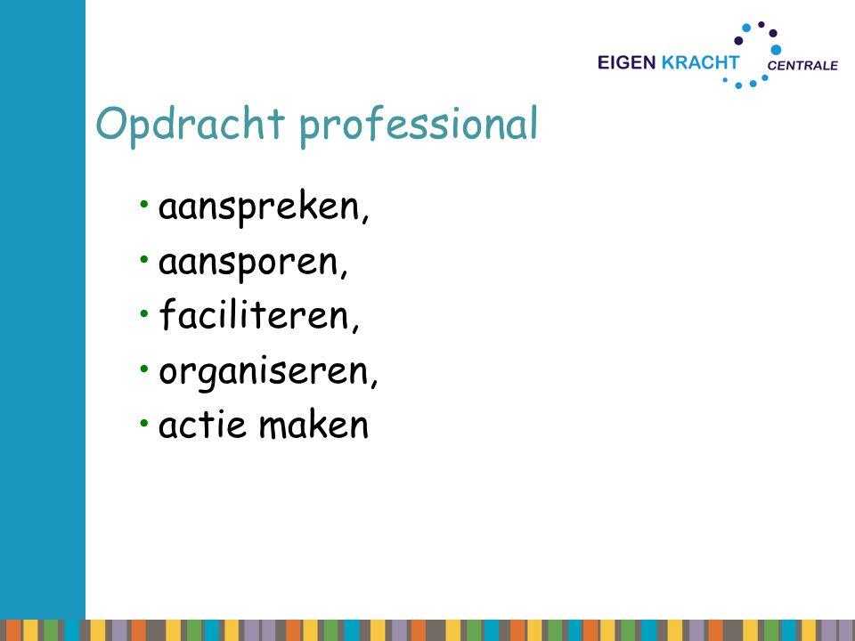 Opdracht professional aanspreken, aansporen, faciliteren, organiseren, actie maken
