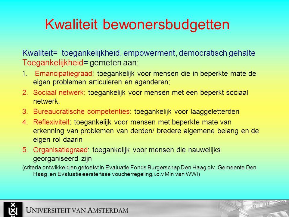 Kwaliteit bewonersbudgetten Kwaliteit= toegankelijkheid, empowerment, democratisch gehalte Toegankelijkheid= gemeten aan: 1.