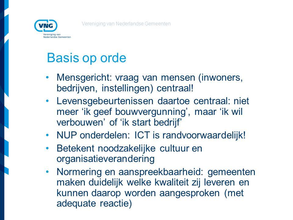 Vereniging van Nederlandse Gemeenten Basis op orde Mensgericht: vraag van mensen (inwoners, bedrijven, instellingen) centraal! Levensgebeurtenissen da