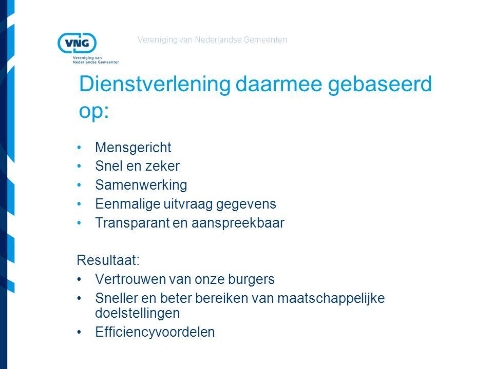 Vereniging van Nederlandse Gemeenten Dienstverlening daarmee gebaseerd op: Mensgericht Snel en zeker Samenwerking Eenmalige uitvraag gegevens Transpar