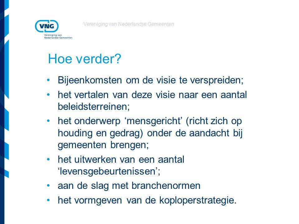 Vereniging van Nederlandse Gemeenten Hoe verder? Bijeenkomsten om de visie te verspreiden; het vertalen van deze visie naar een aantal beleidsterreine