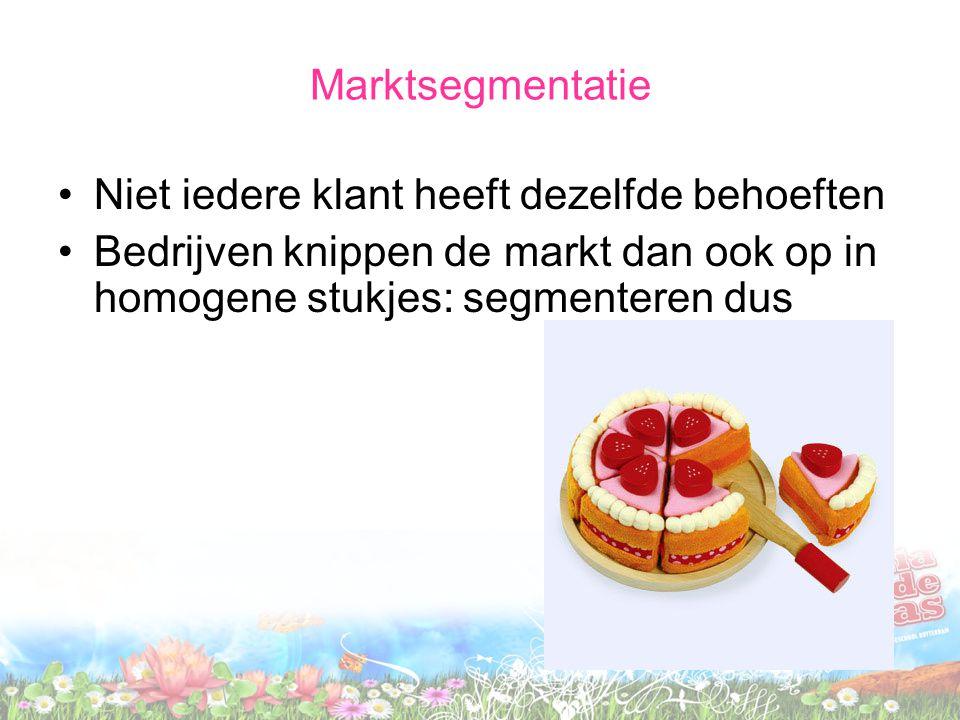 Marktsegmentatie Niet iedere klant heeft dezelfde behoeften Bedrijven knippen de markt dan ook op in homogene stukjes: segmenteren dus