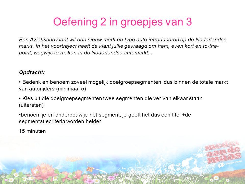 Oefening 2 in groepjes van 3 Een Aziatische klant wil een nieuw merk en type auto introduceren op de Nederlandse markt. In het voortraject heeft de kl
