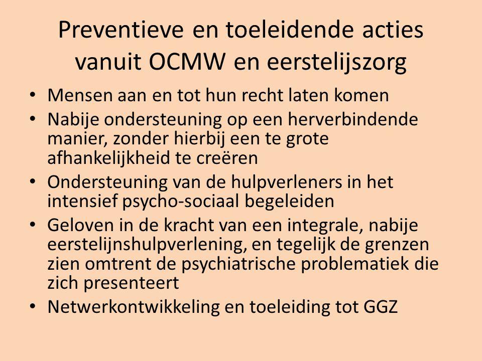 Preventieve en toeleidende acties vanuit OCMW en eerstelijszorg Mensen aan en tot hun recht laten komen Nabije ondersteuning op een herverbindende manier, zonder hierbij een te grote afhankelijkheid te creëren Ondersteuning van de hulpverleners in het intensief psycho-sociaal begeleiden Geloven in de kracht van een integrale, nabije eerstelijnshulpverlening, en tegelijk de grenzen zien omtrent de psychiatrische problematiek die zich presenteert Netwerkontwikkeling en toeleiding tot GGZ