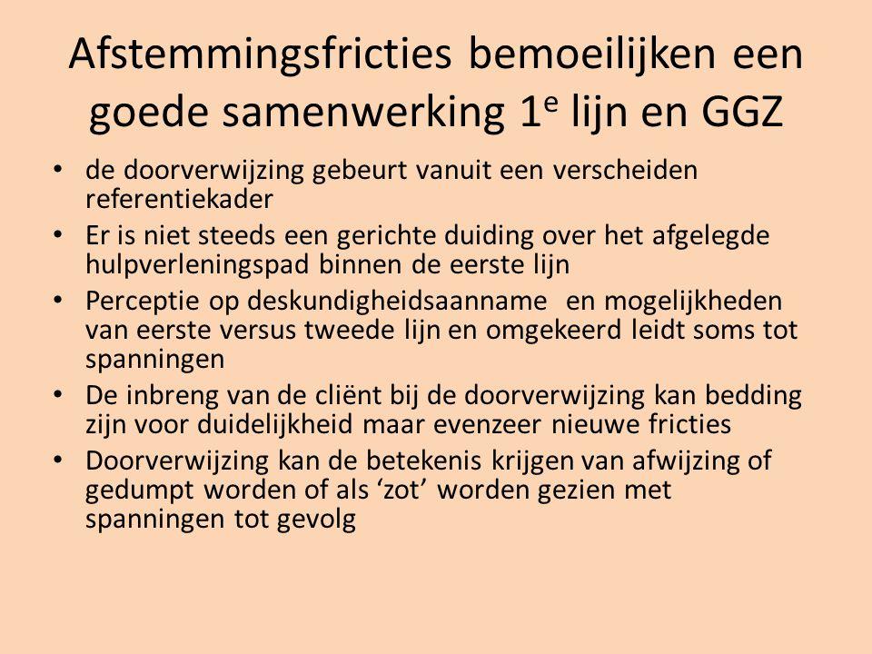 Afstemmingsfricties bemoeilijken een goede samenwerking 1 e lijn en GGZ de doorverwijzing gebeurt vanuit een verscheiden referentiekader Er is niet st