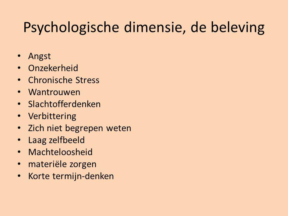 Psychologische dimensie, de beleving Angst Onzekerheid Chronische Stress Wantrouwen Slachtofferdenken Verbittering Zich niet begrepen weten Laag zelfb