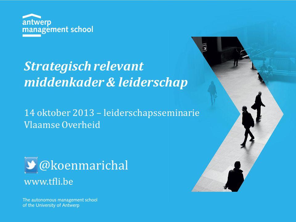 Strategisch relevant middenkader & leiderschap 14 oktober 2013 – leiderschapsseminarie Vlaamse Overheid @koenmarichal www.tfli.be