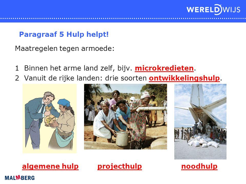Paragraaf 5 Hulp helpt! Maatregelen tegen armoede: 1 Binnen het arme land zelf, bijv. microkredieten. 2 Vanuit de rijke landen: drie soorten ontwikkel