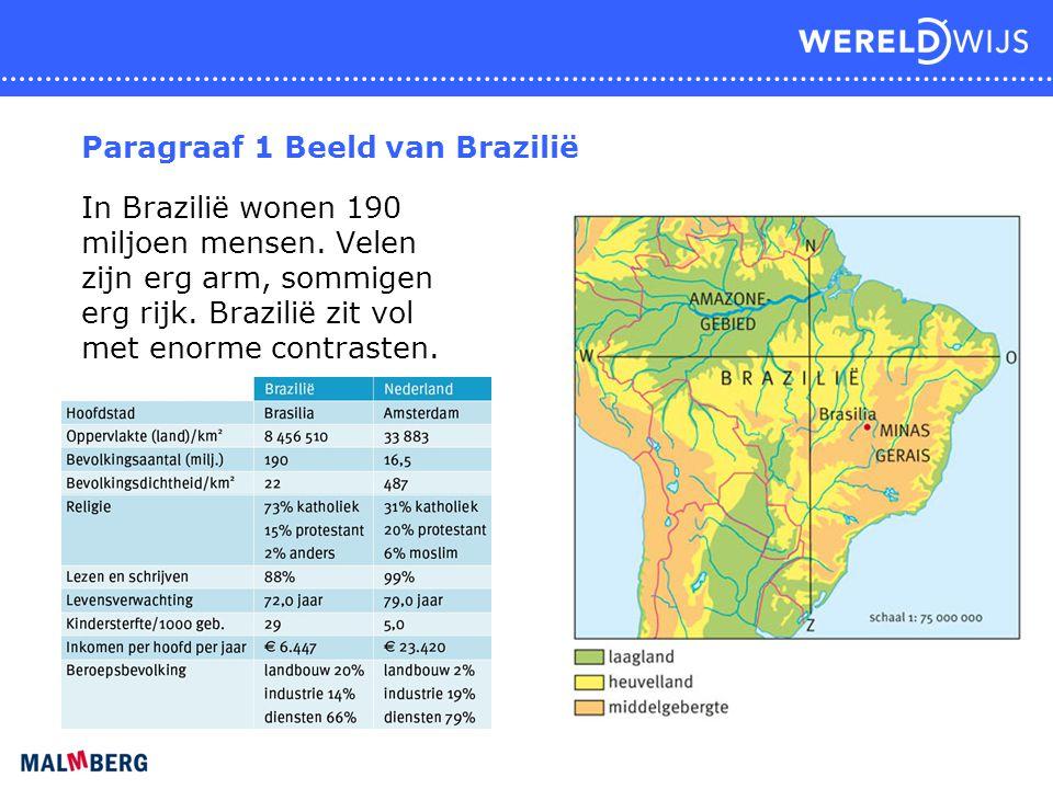 Paragraaf 1 Beeld van Brazilië In Brazilië wonen 190 miljoen mensen. Velen zijn erg arm, sommigen erg rijk. Brazilië zit vol met enorme contrasten.
