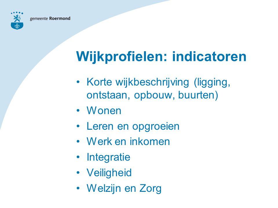 Wijkprofielen: indicatoren Korte wijkbeschrijving (ligging, ontstaan, opbouw, buurten) Wonen Leren en opgroeien Werk en inkomen Integratie Veiligheid Welzijn en Zorg