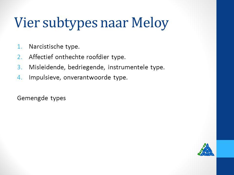Vier subtypes naar Meloy 1.Narcistische type. 2.Affectief onthechte roofdier type. 3.Misleidende, bedriegende, instrumentele type. 4.Impulsieve, onver