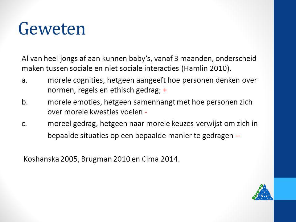 Geweten Al van heel jongs af aan kunnen baby's, vanaf 3 maanden, onderscheid maken tussen sociale en niet sociale interacties (Hamlin 2010). a.morele