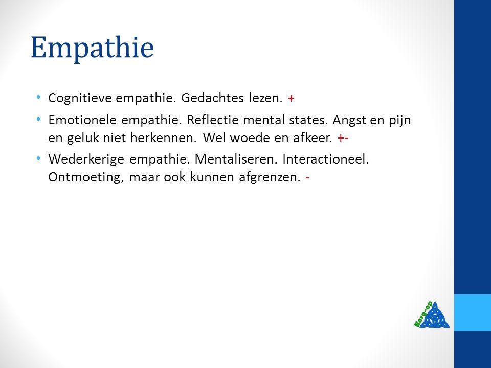 Empathie Cognitieve empathie. Gedachtes lezen. + Emotionele empathie. Reflectie mental states. Angst en pijn en geluk niet herkennen. Wel woede en afk