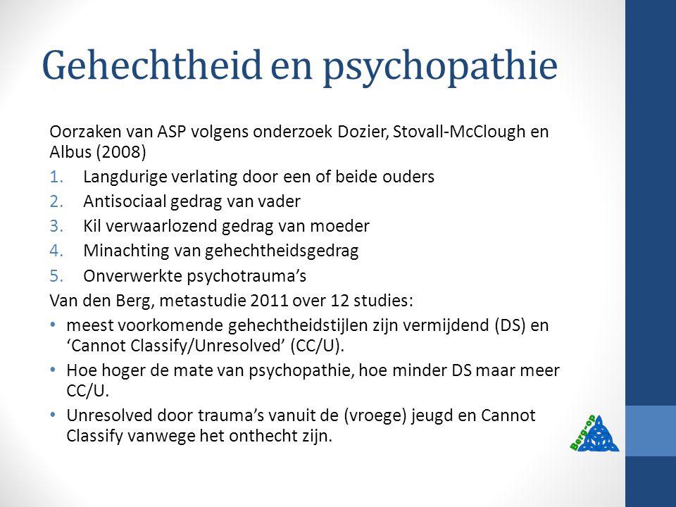Gehechtheid en psychopathie Oorzaken van ASP volgens onderzoek Dozier, Stovall-McClough en Albus (2008) 1.Langdurige verlating door een of beide ouder